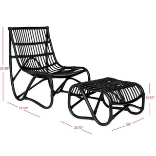 Safavieh Shenandoah Black Wicker Chair and Ottoman Set
