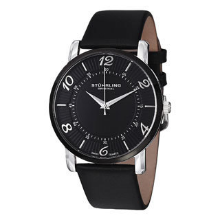 Stuhrling Original Men's Corona Ultrathin Black Stainless Steel Leather Strap Watch