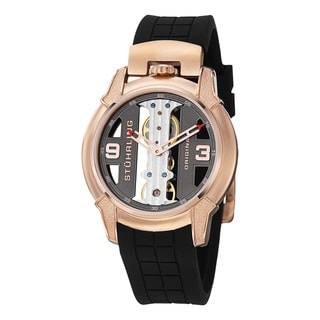Stuhrling Original Men's Raptor Skeleton Mechanical Rubber Strap Watch