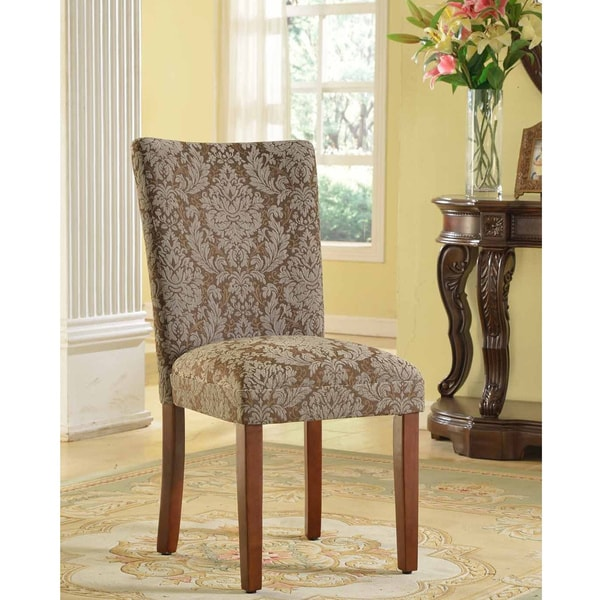 Elegant Blue and Brown Damask Parson Chairs (Set of 2)