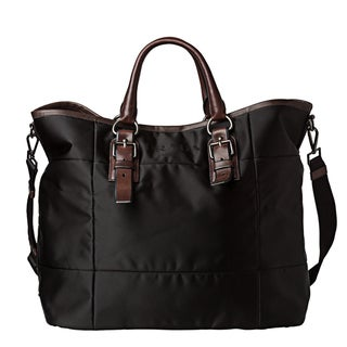 Prada Black/ Brown Nylon Travel Tote