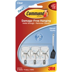 Command Utensil Hooks with Clear Strips (Pack of 3)