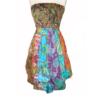 Colorful Cotton Patchwork Bubble Dress (Nepal)