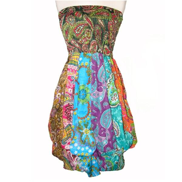 Colorful Cotton Patchwork Bubble Dress (Nepal)
