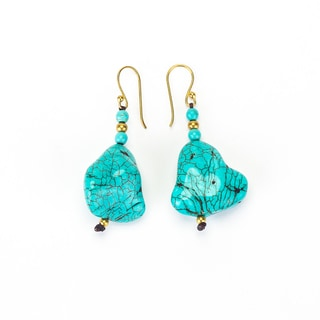 Turquoise and Brass Bead Earrings (Thailand)