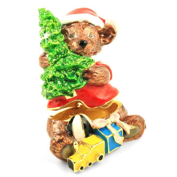 Objet d'art 'Santa's Little Helper' Santa Bear Trinket Box