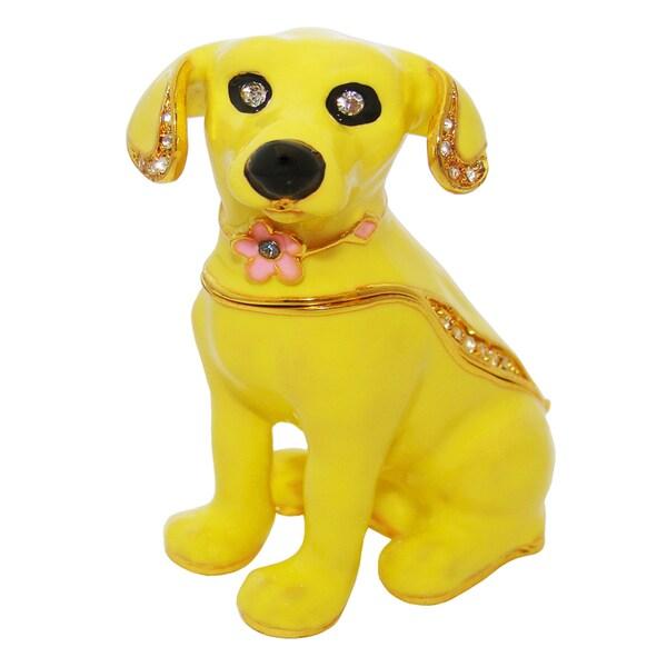 Objet d'art 'Chaka' Yellow Dog Trinket Box
