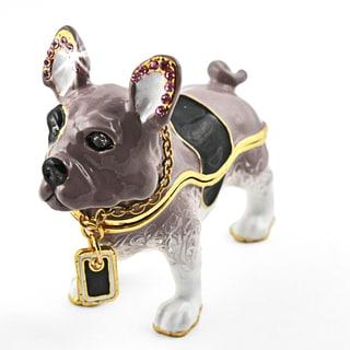 Objet d'art 'Bowser' Dog with Tag Trinket Box