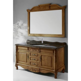 Granite Top Single Sink Bathroom Vanity with Matching Mirror
