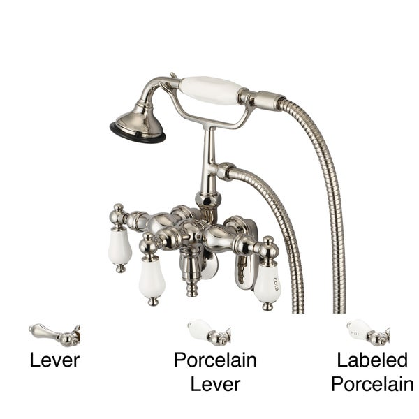 Water Creation Polished Nickel Adjustable Center Wall Mount Down Spout Tub Faucet, Swivel Wall Connector and Handheld Shower 10050591