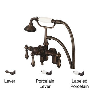 Water Creation F6-0018-03 Vintage Classic Adjustable Center Tub Faucet w/ Down Spout Swivel Wall Conn Handheld Shower