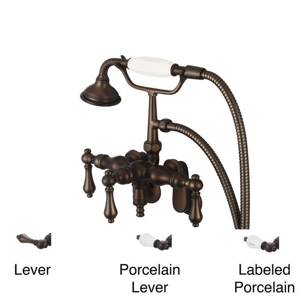 Water Creation Oil Rubbed Bronze Adjustable Center Wall Mount Down Spout Tub Faucet, Swivel Wall Connector and Handheld Shower 10050593