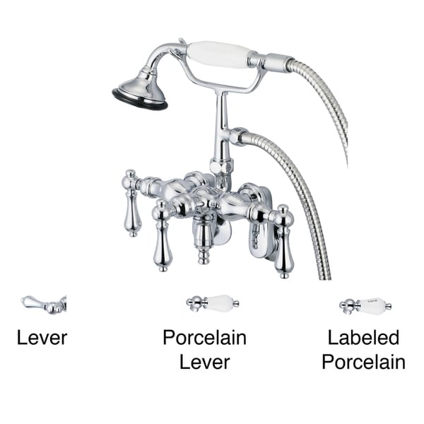 Water Creation Chrome Adjustable Center Wall Mount Tub Faucet With Down Spout, Swivel Wall Connector and Handheld Shower 10050598