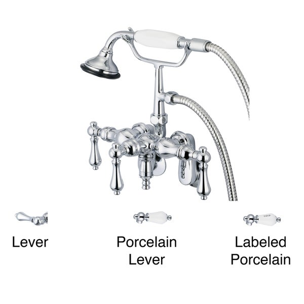 Water Creation Chrome Adjustable Center Wall Mount Tub Faucet With Down Spout, Swivel Wall Connector and Handheld Shower 10050597
