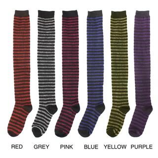 J. Ann Women's Striped Over-the-knee Socks