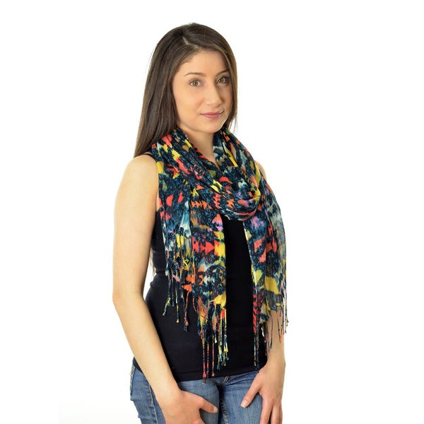 LA77 Women's Distressed Abstract Scarf
