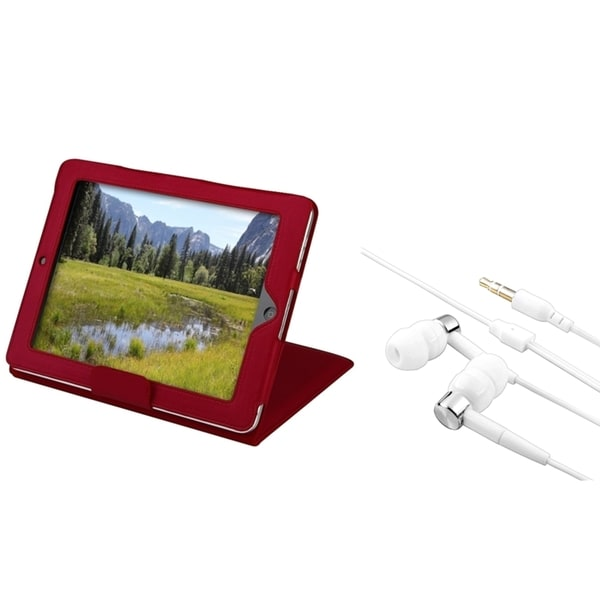 INSTEN Red Leather Tablet Case Cover/ Headset for Apple iPad 1