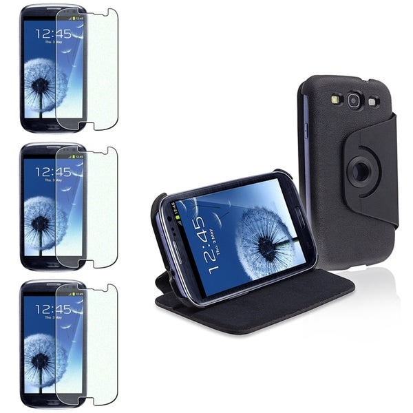 BasAcc Black Leather Case/Colorful Diamond Screen Protector Set for Samsung Galaxy S3