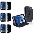BasAcc Black Leather Case/Privacy Filter Screen Protector Set for Samsung Galaxy S3