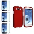 BasAcc Red Rubber Case/Colorful Diamond Screen Protector Set for Samsung Galaxy S3