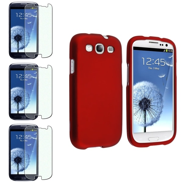 INSTEN Red Rubber Phone Case Cover/ Colorful Diamond Screen Protector Set for Samsung Galaxy S3