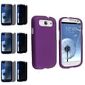 BasAcc Purple Rubber Case/Privacy Filter Screen Protector Set for Samsung Galaxy S3