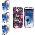 BasAcc Pink Butterfly Case/Mirror Screen Protector for Samsung Galaxy S III/S3