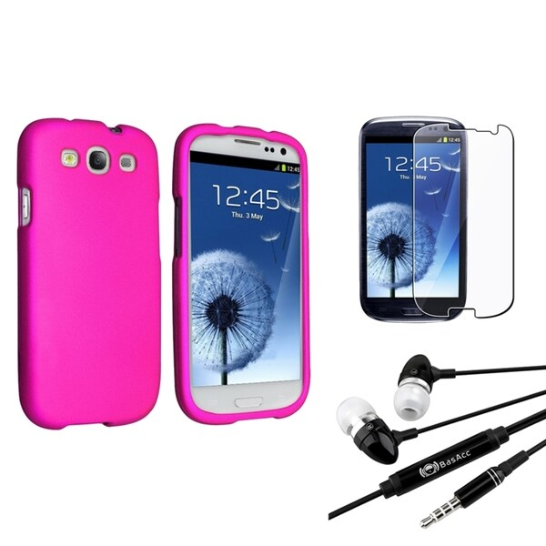 INSTEN Hot Pink Phone Case Cover/ Screen Protector/ Headset Bundle for Samsung Galaxy S III/ S3