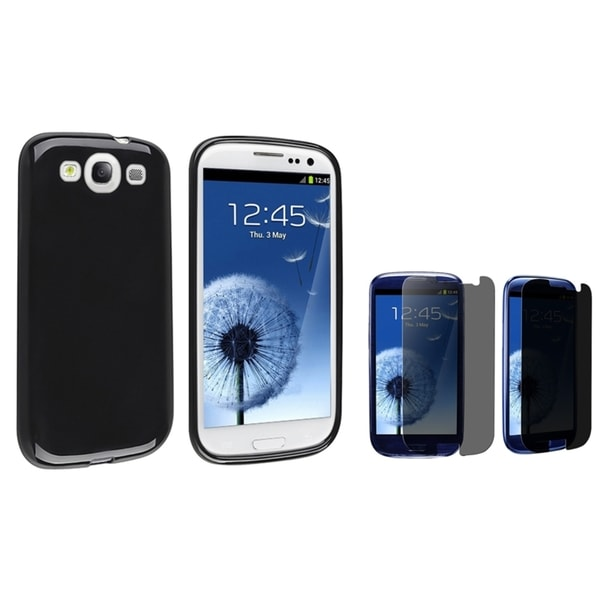 INSTEN Black TPU Phone Case Cover/ Privacy LCD Protector for Samsung Galaxy S III/ S3