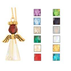 Crystal Birth Stone Angel Earrings