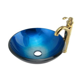 Elite Blue/ Silver Glass Vessel Sink