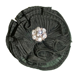 Black Pleated Rosette Magnetic Brooch