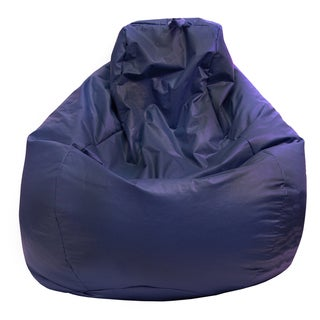Gold Medal Navy Blue Leather Look Large Tear Drop Bean Bag