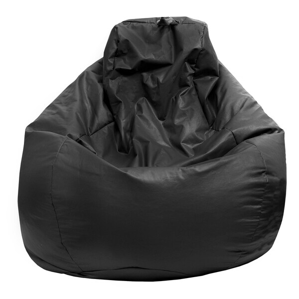 Gold Medal Black Leather Look Large Tear Drop Bean Bag