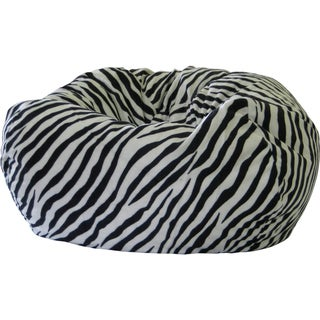 Gold Medal Zebra Print Suede Bean Bag