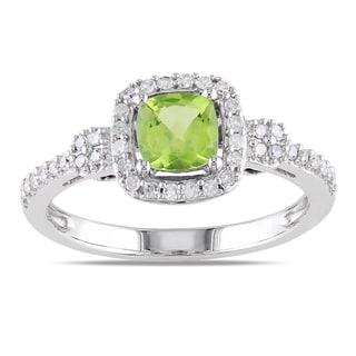Miadora 10k White Gold Peridot and 1/5ct TDW Diamond Ring (G-H, I1-I2)