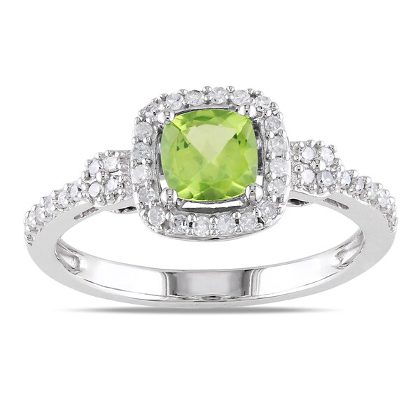 Diamond Engagement Ring With Peridot Accents