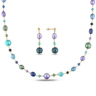 Miadora Pink Rhodium Plated Silver Pearl and Turquoise Earring and Necklace Set