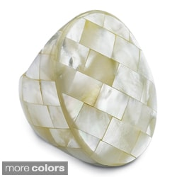 PalmBeach Oval-shaped Mother-of-Pearl Tiled Ring Naturalist