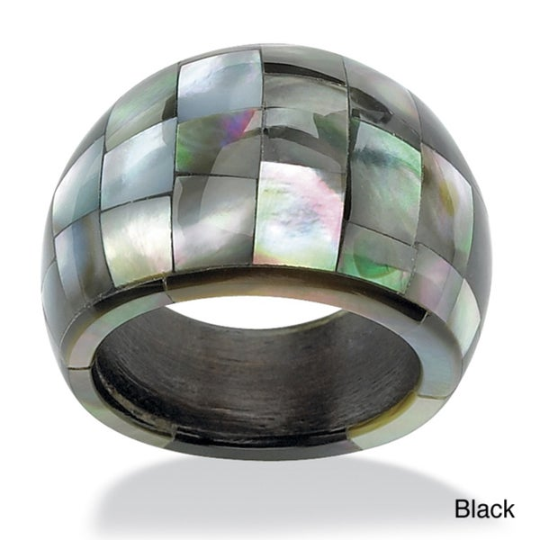 PalmBeach Genuine Black Mother-Of-Pearl Dome-Shaped Tiled Ring Naturalist