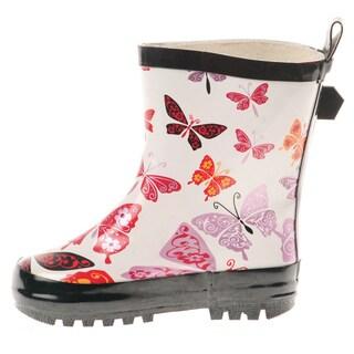 Henry Ferrera Girls' Butterfly Rubber Rain Boots