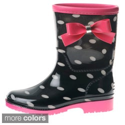 Henry Ferrera Girls' Polka Dot Bow Detail Rain Boots