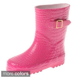 Henry Ferrera Girls' Croco Embossed Rubber Rain Boots