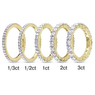Miadora 14k Yellow Gold TDW Certified Diamond Eternity Ring (G-H, I1-I2)