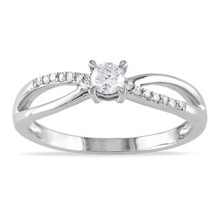 Miadora 10k White Gold 1/4ct TDW Round Diamond Ring (H-I, I2-I3)