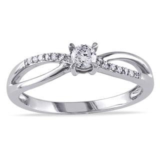 Miadora 10k White Gold 1/4ct TDW Diamond Engagement Ring (H-I, I2-I3)