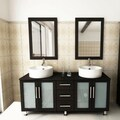 Kokols Modern Double 60-inch Free Standing Bathroom Vanity Sink Mirror Combo
