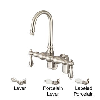 Water Creation F6-0015-02 Vintage Classic Adjustable Spread Wall Mount Tub Faucet with Gooseneck Spout and Swivel Wall Connector