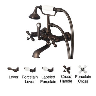 Water Creation Classic Oil Rubbed Bronze 7-inch Spread Wall Mount Tub Faucet With Straight Wall Connector and Handheld Shower