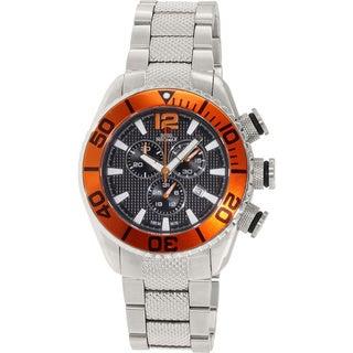 Swiss Precimax Men's Deep Blue Pro II Chronograph Watch with Orange Bezel